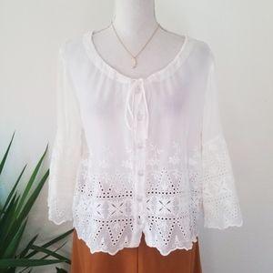 Johnny Was White Lace Button Front Tunic Top